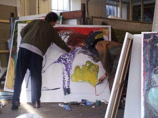 Billy Childish and Edgeworth making a Heckels Horse painting.
