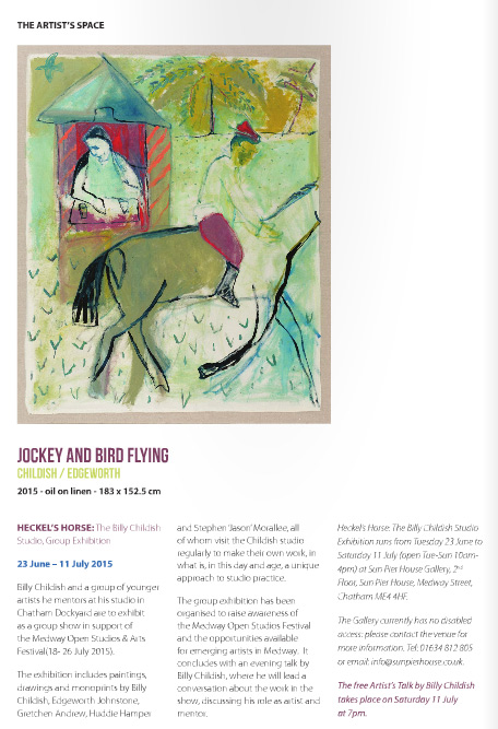 Jockey and Bird Flying (After Larionov) by Heckels Horse. A joint painting by Billy Childish and Edgeworth.