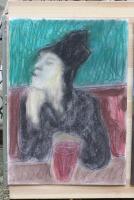 Woman in a pub by Edgeworth - c.2013