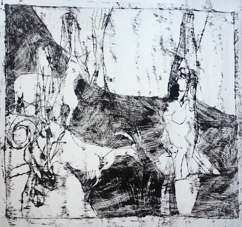 Ballerina and goats