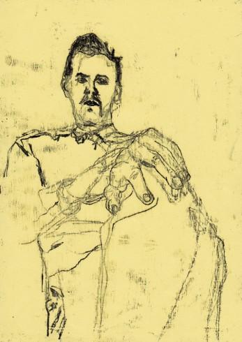 Self-portrait holding knee 1