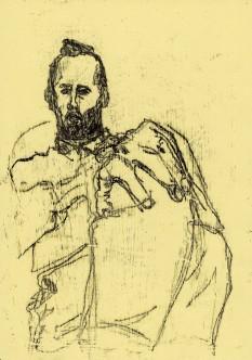Self-portrait holding knee
