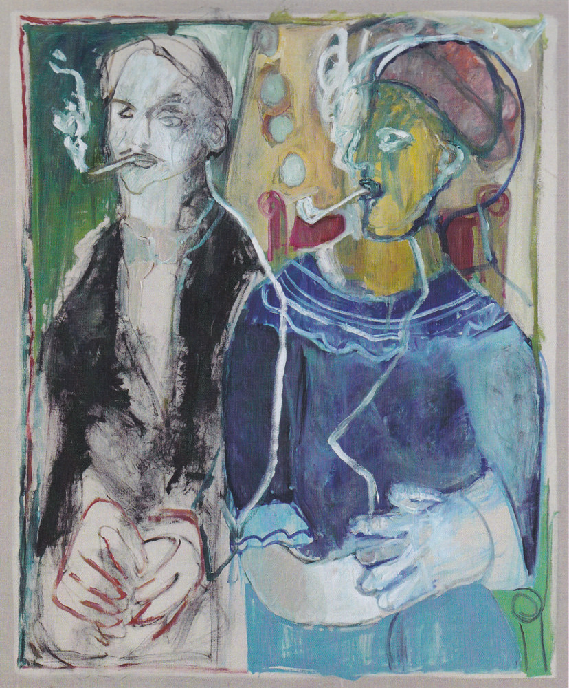 Couple smoking pipes (Mikhail Larionov and Natlia Goncharova) by Heckels Horse. A joint painting by Billy Childish and Edgeworth.