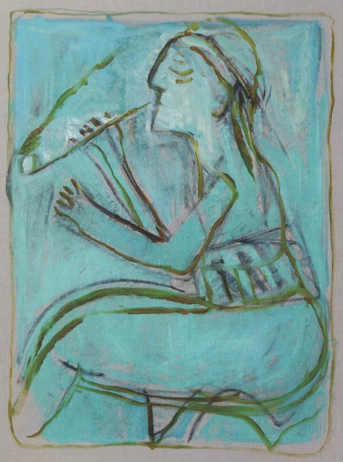 Pipe smoker (After Larionov) by Childish Edgeworth. Joint painting by Billy Childish, and Edgeworth.