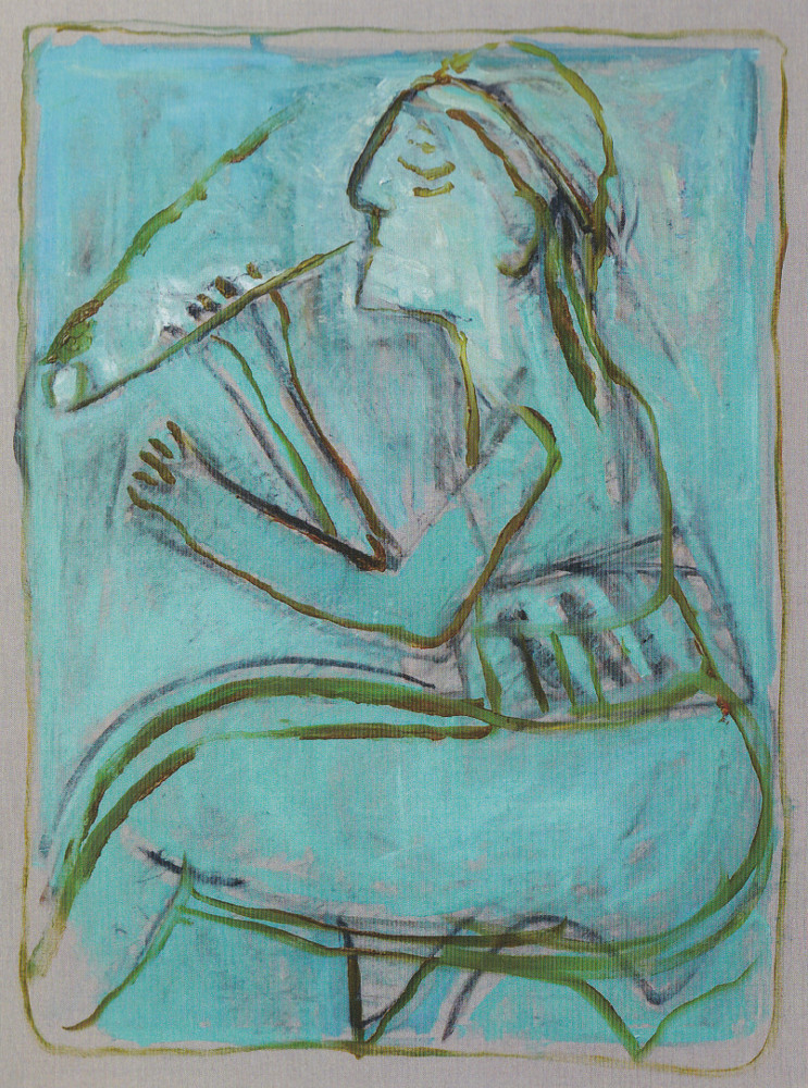 Pipe smoker (After Larionov) by Heckels Horse. A joint painting by Billy Childish and Edgeworth.