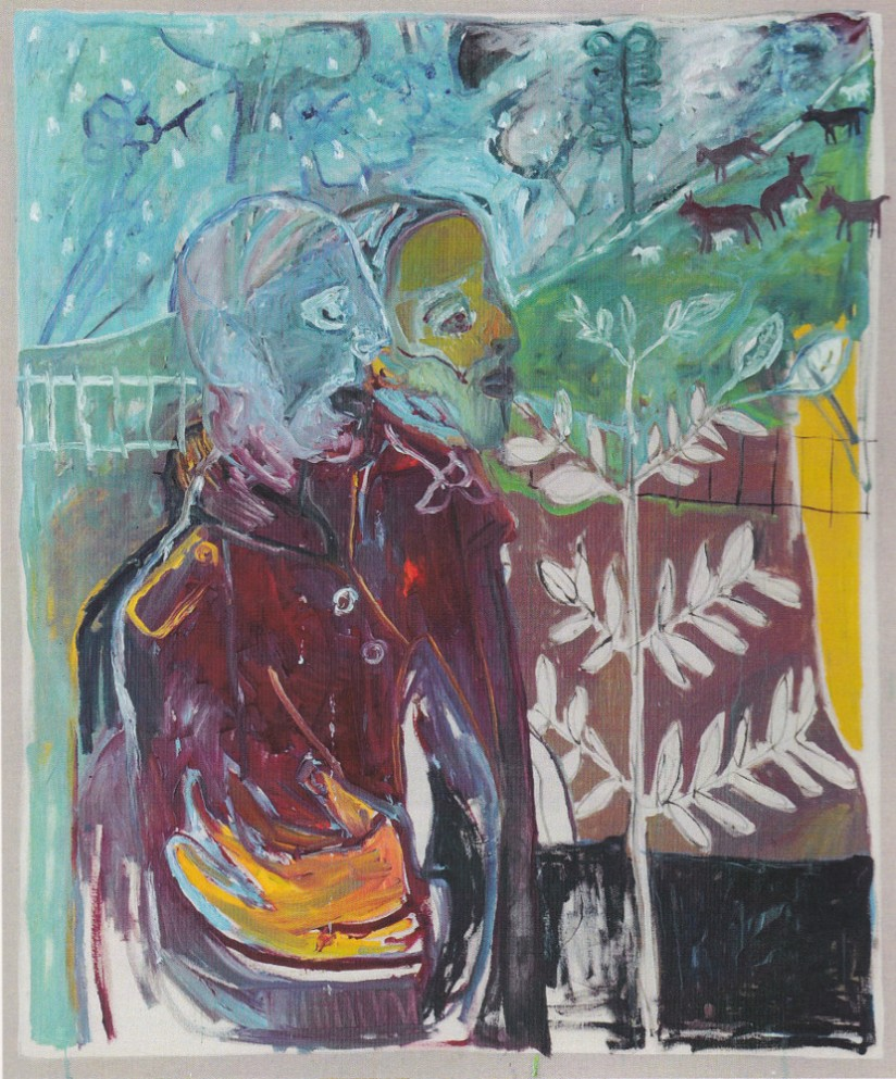 Mikhail Goncharov and his platoon commander (After Goncharova) by Childish Edgeworth. Joint painting by Billy Childish, and Edgeworth.