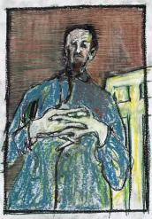 Self-portrait, interlocking fingers colour oil pastel
