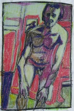 Self-portrait, holding knees nude colour