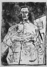 Self-portrait, interlocking fingers, black oil transfer drawing
