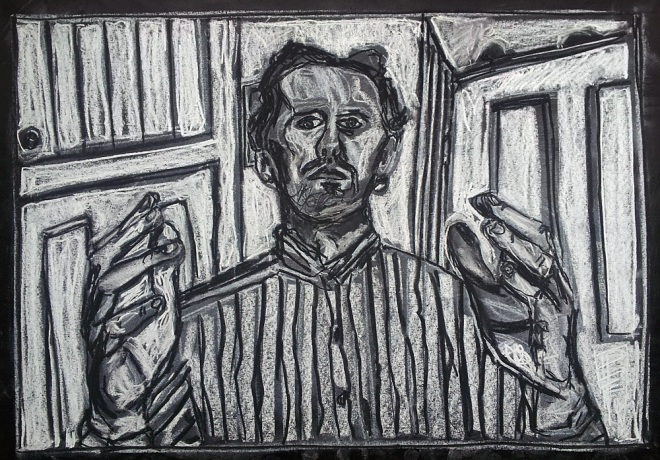 Self-portrait, striped shirt