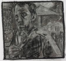 Self-portrait in garden holding shirt