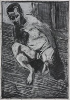 Self-portrait, lent back crouched nude