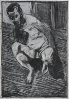 Self-portrait, lent back crouched nude