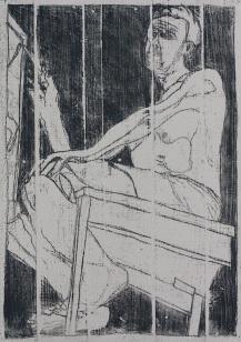 Self portrait at easel 8