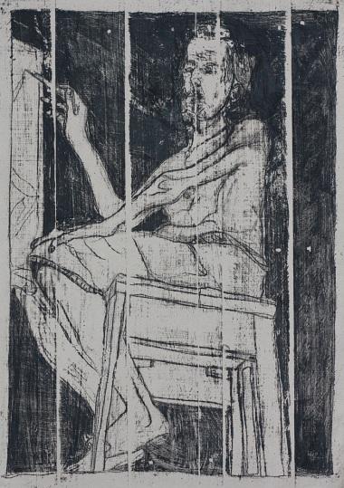 Self portrait at easel 9
