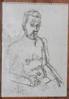 Self-portrait topless mirror sketch