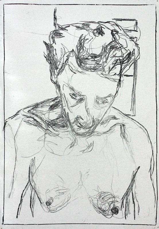 Self-portrait, head tipped forward