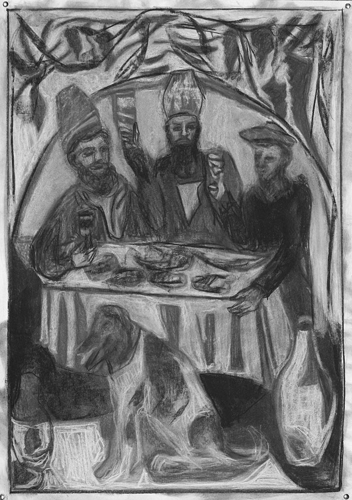 Feast in the vine pergola (after Pirosmani)