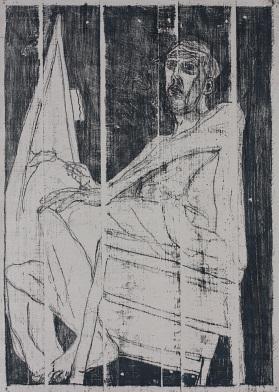 Self portrait at easel 7