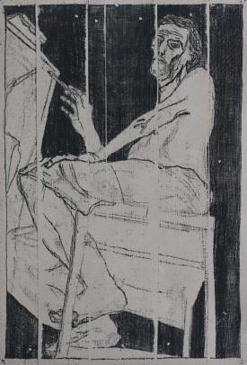 Self portrait at easel 10