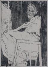 Self portrait at easel