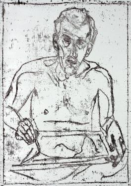 Self-portrait in front of mirror