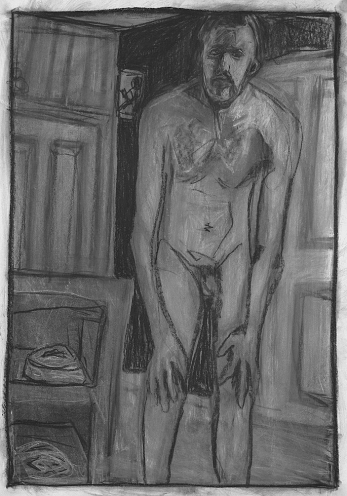 Self-portrait, crouched nude