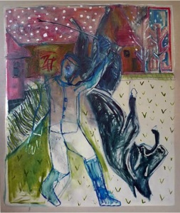 Dream of a man whipping a horse, by Childish Edgeworth. Joint painting by Billy Childish, and Edgeworth.