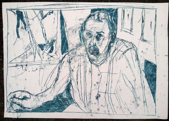 Self-portrait drawing in the mirror, December 2016 3
