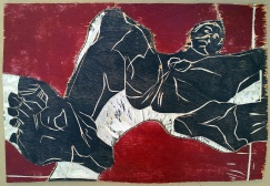 Self-portrait nude, lying back, foot forward 2