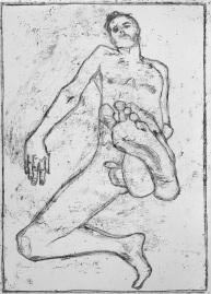 Self-portrait, raised foot