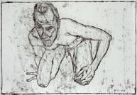 Self-portrait, knelt holding knee