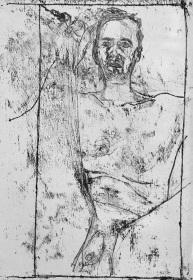 Self-portrait, sat hand on knee