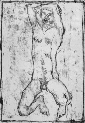 Self-portrait, arms crossed above head