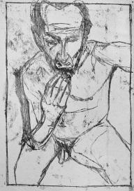 Self-portrait, fingers on chin