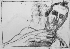 Self-portrait, hand on chest under chin