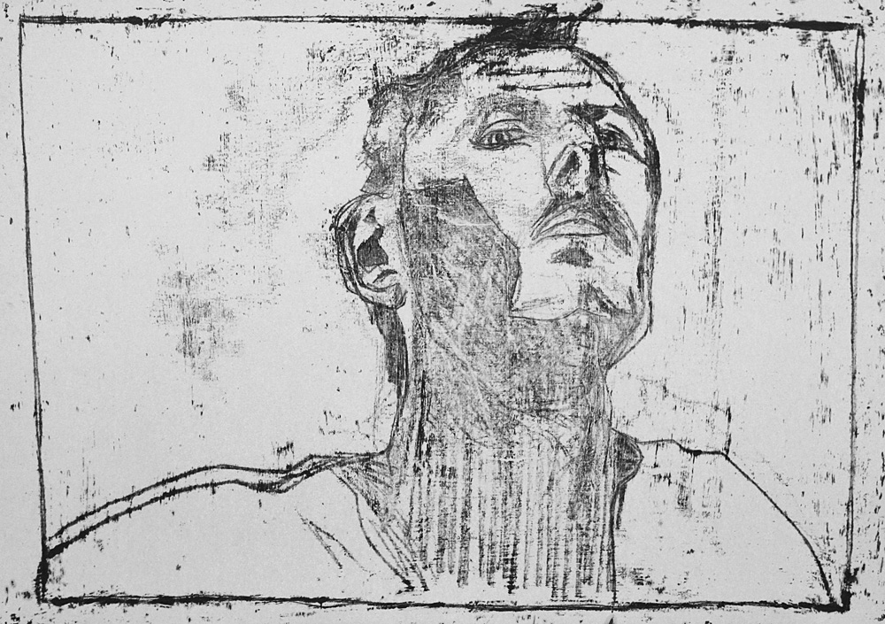 Self-portrait, from below chin