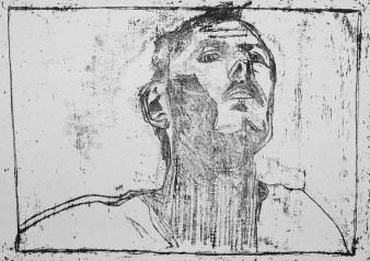 Self-portrait, from below chin