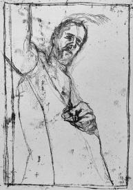 Self-portrait, hand above hip bone
