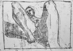 Self-portrait, left leg shadow