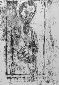 Self-portrait, right arm raised