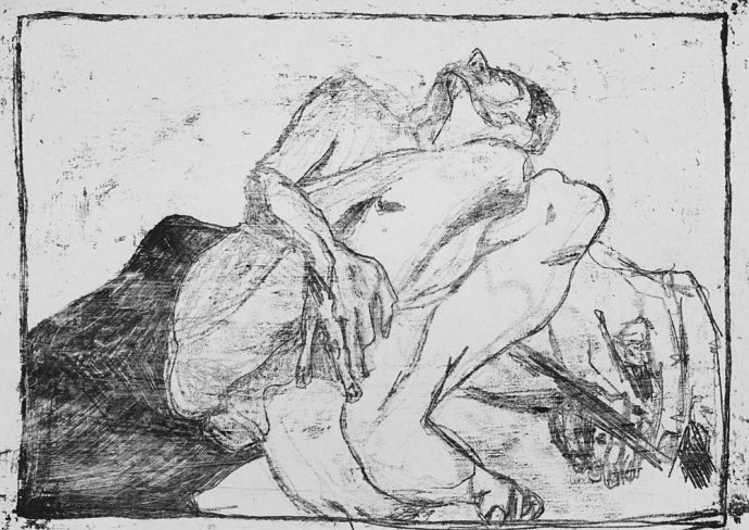 Self-portrait, nude with redrawn large hand