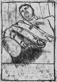 Self-portrait, testicles and fingers
