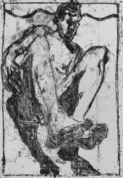 Self-portrait, sat falling back