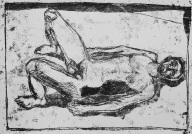 Self-portrait, lying back knees bent