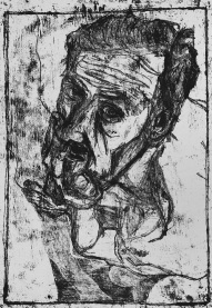 Self-portrait, fingers pressed against mouth