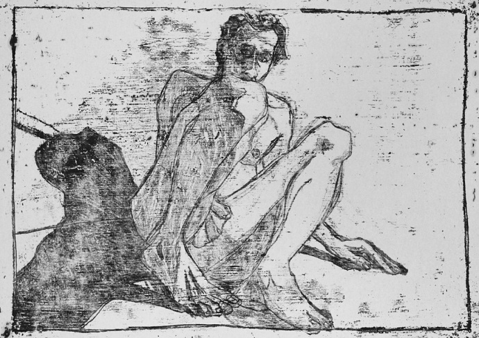 Self-portrait, behind knees