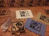 Wood blockprinting Elbow Sisters DVD covers.