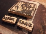 Carved wood blocks for Elbow Sisters DVD covers.