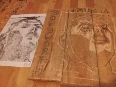 Edgeworth self-portrait wood carving in progress